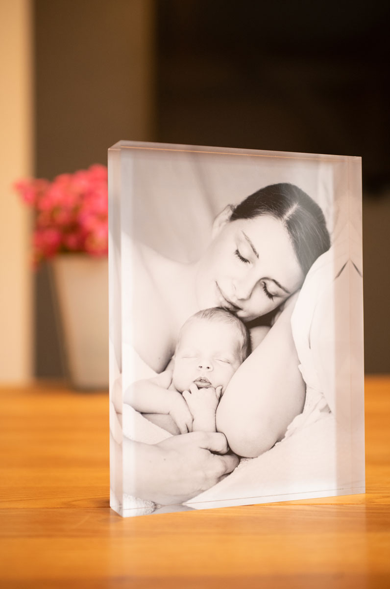 acrylblock fotoshooting baby