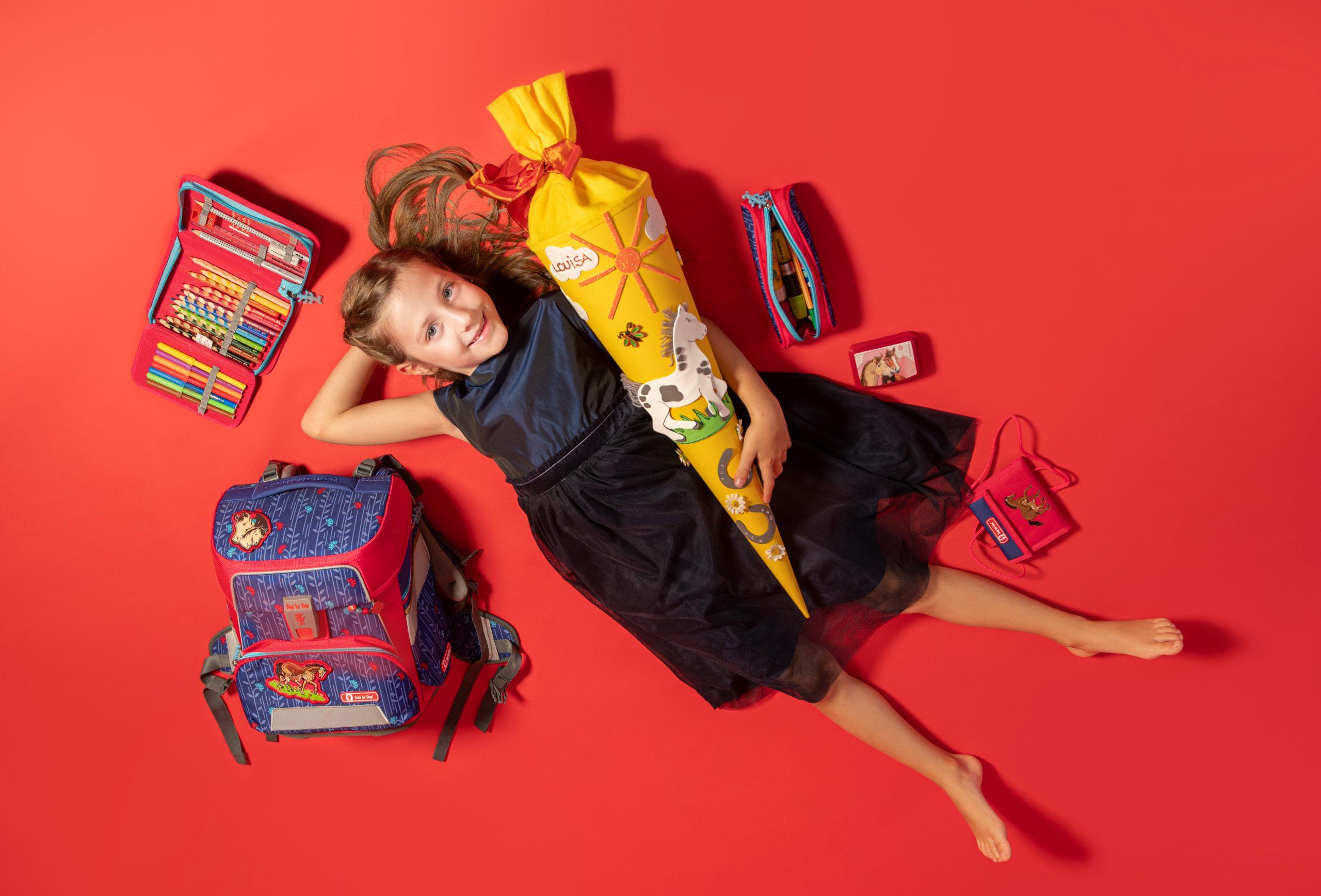 Schulanfangsfoto mit einem Mädchen von der Fotografin Ricarda Hager in Nürnberg